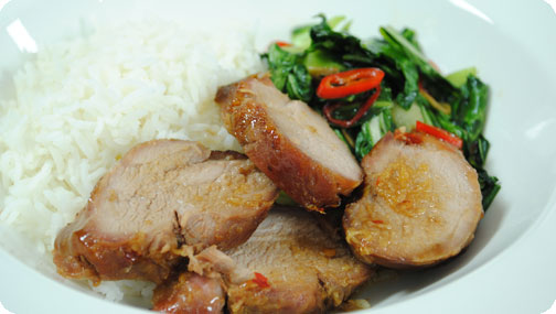 Gizzi's Char Siu Barbeque Pork and Stir Fry Asian Greens with Chilli and Oyster Sauce
