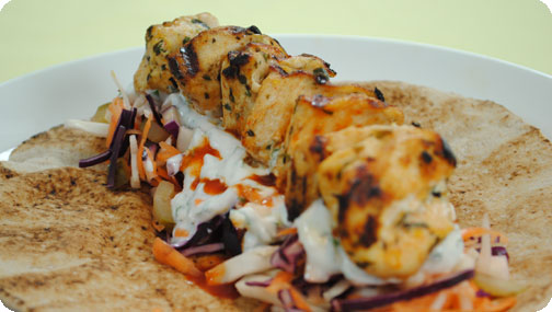 Gizzi's Chicken Kebabs with Crunchy Salad