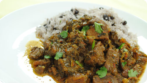 Gizzi's Curried Goat with Rice and Peas