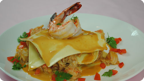 Gizzi's Pink Prawn and Crab Open Lasagne