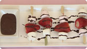 Strawberry & Marshmallow Skewers with Chocolate Sauce